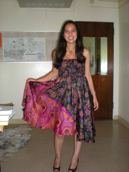 This was one of the first dresses my sister bought from Audrey in Spring 2009. She loved the purple/ pink color combination and the dynamism of the dress that was reflected in the fluid movement and design. She was excited to wear it to a special Fraternity event—May 2009