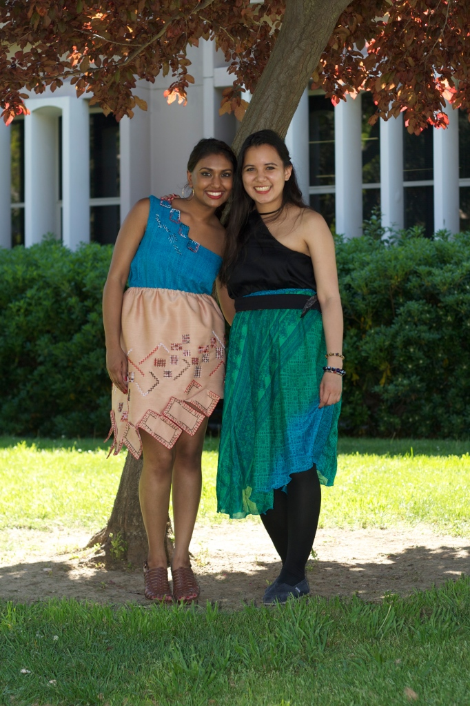Audrey's work was extremely influential in developing my interest in sustainable fashion design. This is one of my favorite photos because I am wearing one of Audrey's dresses alongside my own zero-waste designs from my collection. I am also with a great friend who was also my model, Jessica Dutt—April 2012