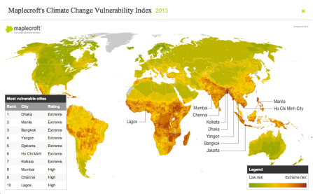 Maplecroft Climate Change Vulnerability Index, 2012