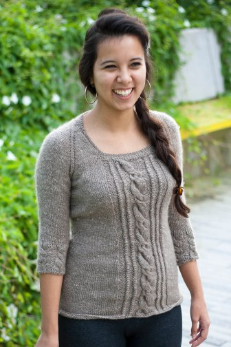 My sister modeling the finished sweater; Photo courtesy David Arellanes