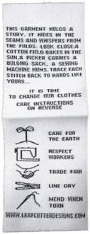 Care label designed to emphasize environmental and social responsibility