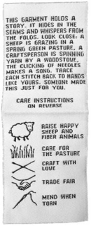 Care label desigend to emphasize a garment's connection to animals, their fibers, and welfare on the farm