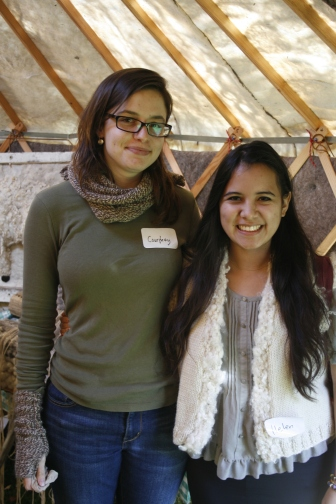 Me with Courtney, Fibershed fiber artisan. She is wearing the first Fibershed scarf she made, and I am wearing a vest made by artisan Marlie de Swart, 2013; Photo courtesy David Arellanes