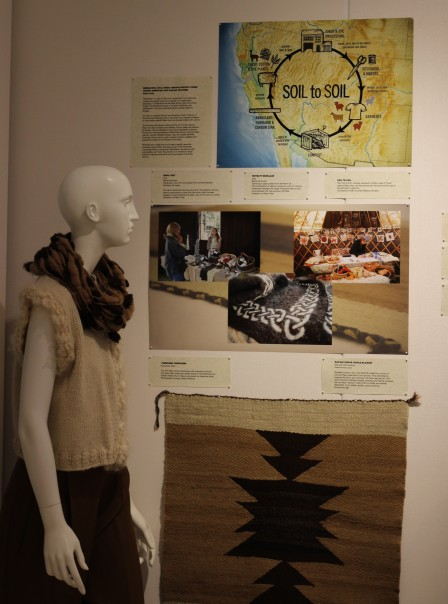 Exhibit representing relationship between Fibershed & Navajo traditions of working with local fibers; Jill Stuart Gallery, Cornell University, 2013-2014