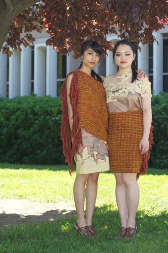 Zero Waste Senior Collection by Helen Trejo, Modeled by Mary and Annie, May 2012