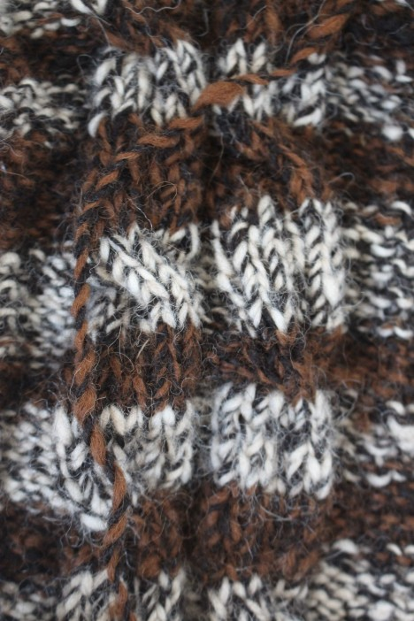 Cabled cowl of alpaca yarns, 2015