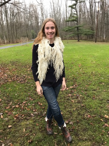 Hand Felted Wensleydale Scarf by Karen of Windsong Farm, Modeled by Haley Smith 2017