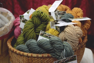 Naturally dyed yarn by Ironwood Hill Farm at the Local Fiber Pop Up, Photo By Victoria Hantout, 2017