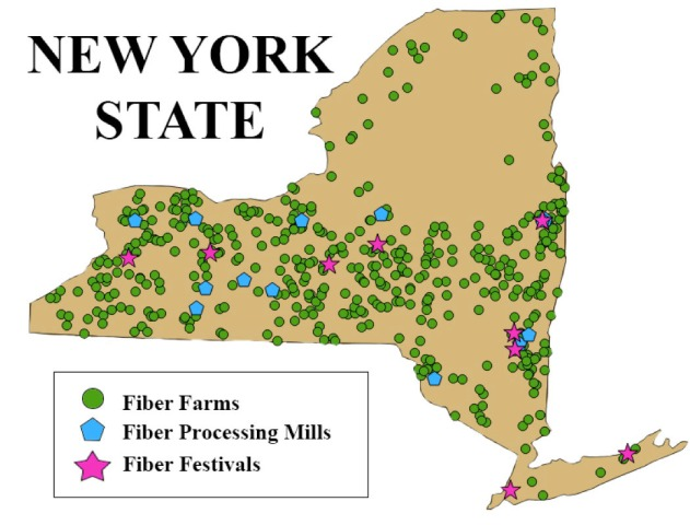 Map of Fiber Farms, Mills, Festivals, 2017